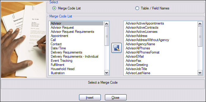 Adding Merge Codes to Letters